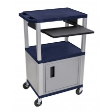 "Luxor Tuffy Navy Blue 42"" 3 Shelf Cart W/ Black Pullout Shelf & Nickel Cabinet, Legs & Electric"