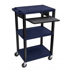 "Luxor Tuffy Navy Blue 42"" 3 Shelf Cart W/ Black Pullout Shelf, Legs & Electric"