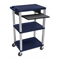 "Luxor Tuffy Navy Blue 42"" 3 Shelf Cart W/ Black Pullout Shelf & Nickel Legs & Electric"