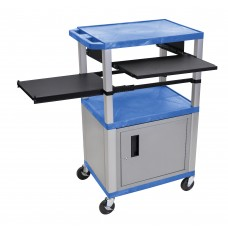 Luxor Tuffy Blue 3 Shelf & Nickel Legs, Cabinet & Black Front & Side Pull-out Shelves & Electric