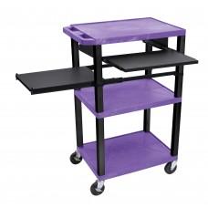 Luxor Tuffy Purple 3 Shelf W/ Black Legs, Front & Side Pull-out Shelves & Electric