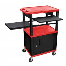 Luxor Tuffy Red 3 Shelf W/ Black Legs, Cabinet & Front & Side Pull-out Shelves & Electric