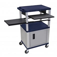 Luxor Tuffy Navy Blue 3 Shelf & Nickel Legs, Cabinet & Black Front & Side Pull-out Shelves & Electric