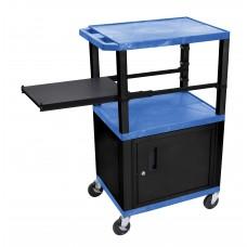 Luxor Tuffy Blue 3 Shelf & Black Legs, Cabinet & Side Pull-out Shelf & Electric