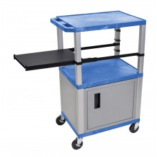 Luxor Tuffy Blue 3 Shelf & Nickel Legs, Cabinet & Black Side Pull-out Shelf & Electric