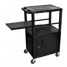 Luxor Tuffy Black 3 Shelf W/ Black Legs, Cabinet & Side Pull-out Shelf & Electric