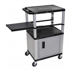 Luxor Tuffy Black 3 Shelf & Nickel Legs, Cabinet & Black Side Pull-out Shelf & Electric