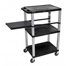 Luxor Tuffy Black 3 Shelf W/ Nickel Legs & Black Side Pull-out Shelf & Electric