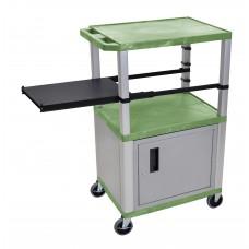 Luxor Tuffy Green 3 Shelf & Nickel Legs, Cabinet & Black Side Pull-out Shelf & Electric