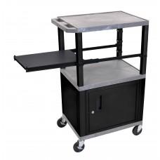 Luxor Tuffy Gray 3 Shelf W/ Black Legs, Cabinet & Side Pull-out Shelf & Electric