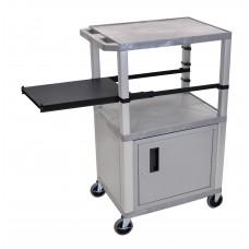 Luxor Tuffy Gray 3 Shelf & Nickel Legs, Cabinet & Black Side Pull-out Shelf & Electric