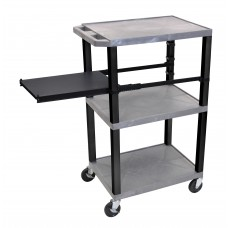 Luxor Tuffy Gray 3 Shelf W/ Black Legs & Side Pull-out Shelf & Electric