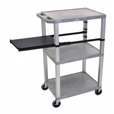 Luxor Tuffy Gray 3 Shelf W/ Nickel Legs & Black Side Pull-out Shelf & Electric