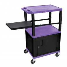Luxor Tuffy Purple 3 Shelf W/ Black Legs, Cabinet &  Side Pull-out Shelf & Electric