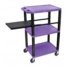 Luxor Tuffy Purple 3 Shelf W/ Black Legs & Side Pull-out Shelf & Electric
