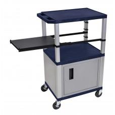 Luxor Tuffy Navy Blue 3 Shelf & Nickel Legs, Cabinet & Black Side Pull-out Shelf & Electric