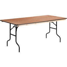 36'' x 72'' Rectangular Wood Folding Banquet Table with Clear Coated Finished Top [XA-3672-P-GG]