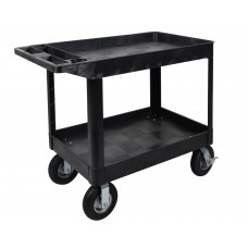 Luxor XLC11P8-B two shelf heavy-duty utility cart w/ P8 casters