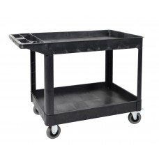 Luxor XLC11SP5-B two shelf heavy-duty utility cart w/SP5 Casters