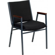 HERCULES Series Heavy Duty Black Dot Fabric Stack Chair with Arms [XU-60154-BK-GG]