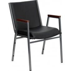 HERCULES Series Heavy Duty Black Vinyl Fabric Stack Chair with Arms [XU-60154-BK-VYL-GG]