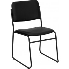 HERCULES Series 1000 lb. Capacity High Density Black Vinyl Stacking Chair with Sled Base [XU-8700-BLK-B-VYL-30-GG]