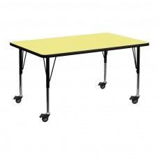 Mobile 36''W x 72''L Rectangular Yellow Thermal Laminate Activity Table