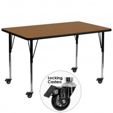 Mobile 30''W x 72''L Rectangular Oak Thermal Laminate Activity Table - Standard Height Adjustable Legs