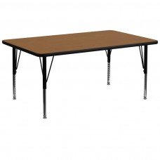 30''W x 72''L Rectangular Oak Thermal Laminate Activity Table - Height Adjustable Short Legs