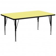 30''W x 72''L Rectangular Yellow Thermal Laminate Activity Table - Height Adjustable Short Legs