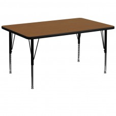 36''W x 72''L Rectangular Oak HP Laminate Activity Table - Height Adjustable Short Legs