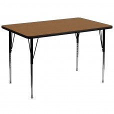 36''W x 72''L Rectangular Oak Thermal Laminate Activity Table - Standard Height Adjustable Legs