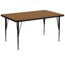 36''W x 72''L Rectangular Oak Thermal Laminate Activity Table - Height Adjustable Short Legs