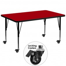 Mobile 36''W x 72''L Rectangular Red Thermal Laminate Activity Table - Height Adjustable Short Legs