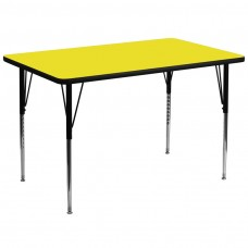 36''W x 72''L Rectangular Yellow HP Laminate Activity Table - Standard Height Adjustable Legs