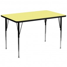 36''W x 72''L Rectangular Yellow Thermal Laminate Activity Table - Standard Height Adjustable Legs