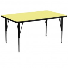 36''W x 72''L Rectangular Yellow Thermal Laminate Activity Table - Height Adjustable Short Legs