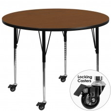 Mobile 42'' Round Oak HP Laminate Activity Table - Standard Height Adjustable Legs