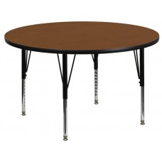 42'' Round Oak HP Laminate Activity Table - Height Adjustable Short Legs [XU-A42-RND-OAK-H-P-GG]