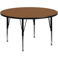 42'' Round Oak Thermal Laminate Activity Table - Height Adjustable Short Legs