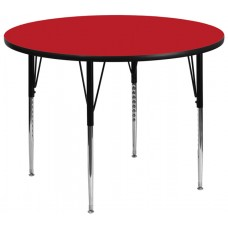 42'' Round Red HP Laminate Activity Table - Standard Height Adjustable Legs [XU-A42-RND-RED-H-A-GG]