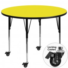 Mobile 42'' Round Yellow HP Laminate Activity Table - Standard Height Adjustable Legs [XU-A42-RND-YEL-H-A-CAS-GG]