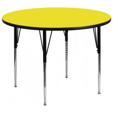 42'' Round Yellow HP Laminate Activity Table - Standard Height Adjustable Legs [XU-A42-RND-YEL-H-A-GG]