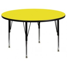 42'' Round Yellow HP Laminate Activity Table - Height Adjustable Short Legs [XU-A42-RND-YEL-H-P-GG]
