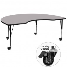 Mobile 48''W x 72''L Kidney Grey Thermal Laminate Activity Table - Height Adjustable Short Legs