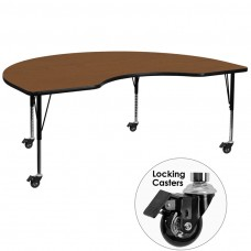 Mobile 48''W x 72''L Kidney Oak HP Laminate Activity Table - Height Adjustable Short Legs