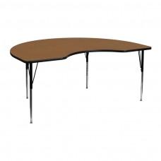 48''W x 72''L Kidney Oak Thermal Laminate Activity Table - Standard Height Adjustable Legs
