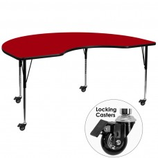 Mobile 48''W x 72''L Kidney Red Thermal Laminate Activity Table - Standard Height Adjustable Legs