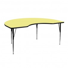 48''W x 72''L Kidney Yellow Thermal Laminate Activity Table - Standard Height Adjustable Legs