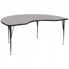 48''W x 96''L Kidney Grey HP Laminate Activity Table - Standard Height Adjustable Legs